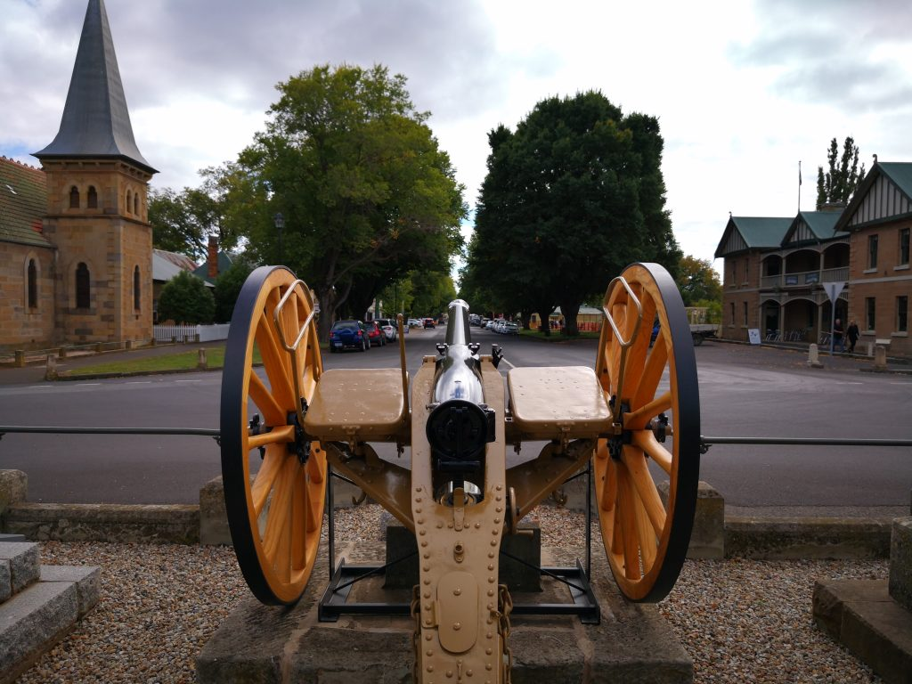 rear view of Canon at Ross War Memorial