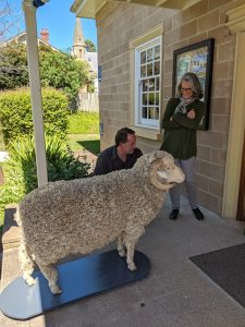 Jim the Sheep is welcomed by Debra