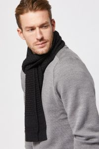Toorallie Harrison Scarf in Charcoal. In store at the Tasmanian Wool Centre Ross, Tasmania Australia
